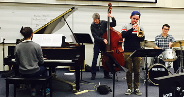 Hans Halt with Students at the Jazz in the Schools 2017 event